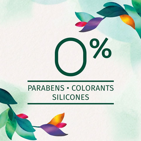 Zero percent of parabens, colorants and silicones