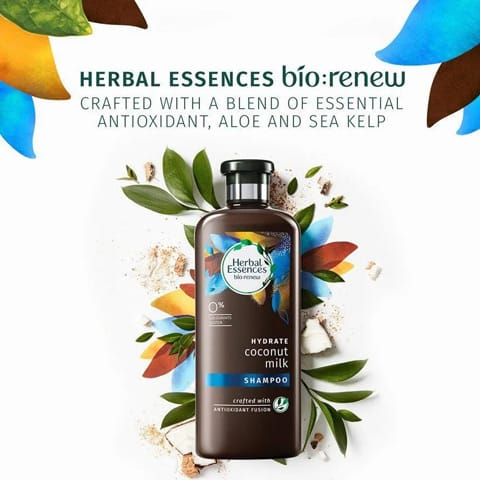 Herbal Essences bio renew: crafted with a blend of essential antioxidant, aloe and sea kelp