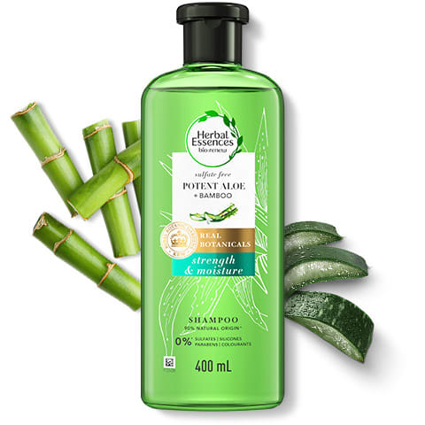 Herbal Essences sulphate-free potent Aloe & Bamboo shampoo bottle