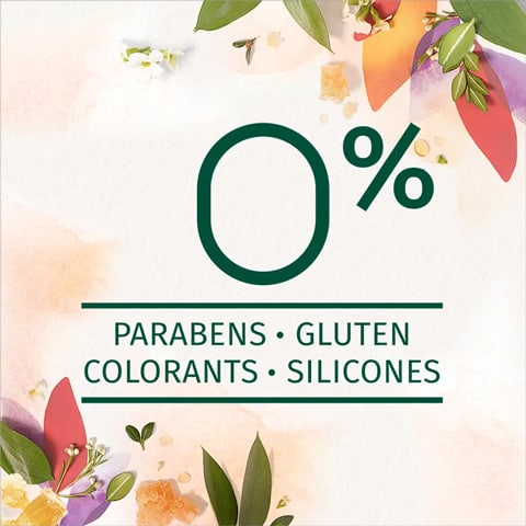 Zero percent of parabens, gluten, colourants and silicones