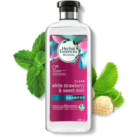 Herbal Essences White Strawberry & Mint clean shampoo bottle
