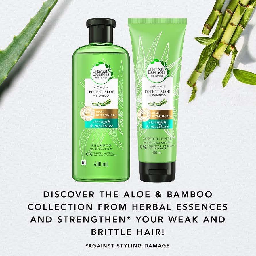 Discover the aloe and bamboo collection from Herbal Essences and strengthen your weak and brittle hair