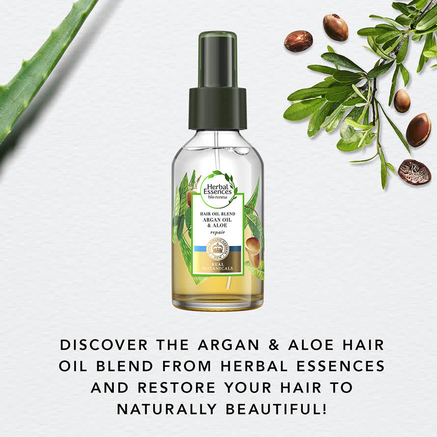 Discover the argan and aloe hair oil blend from Herbal Essences and restore your hair to naturally beautiful