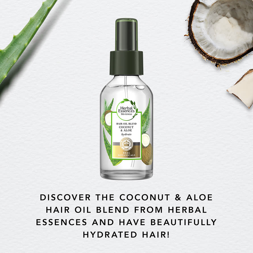 Discover the coconut and aloe hair oil blend from Herbal Essences and have beautifully hydrated hair