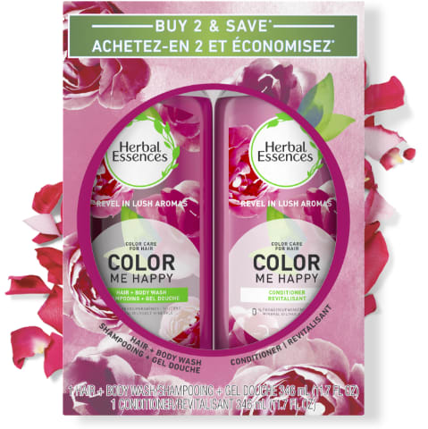 Ensemble de shampooing et revitalisant pour cheveux colorés Herbal Essences Color Me Happy