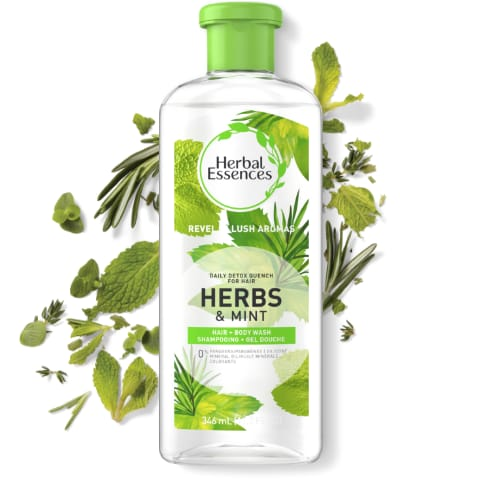Shampooing hydratant Herbal Essences Daily Detox Quench herbes et menthe
