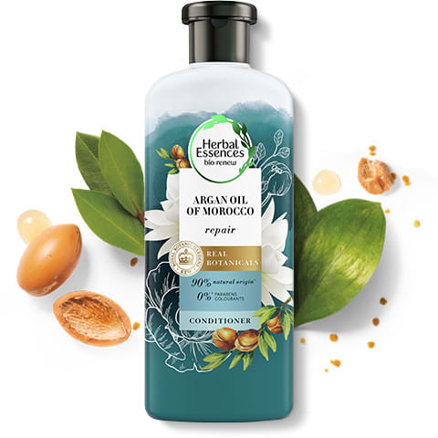 Herbal Essences Argan Oil of Morocco conditioner bottle for hair repair