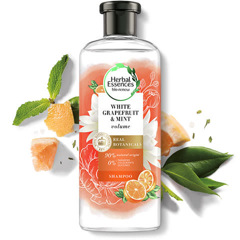 Herbal Essences White Grapefruit & Mint volumising shampoo bottle