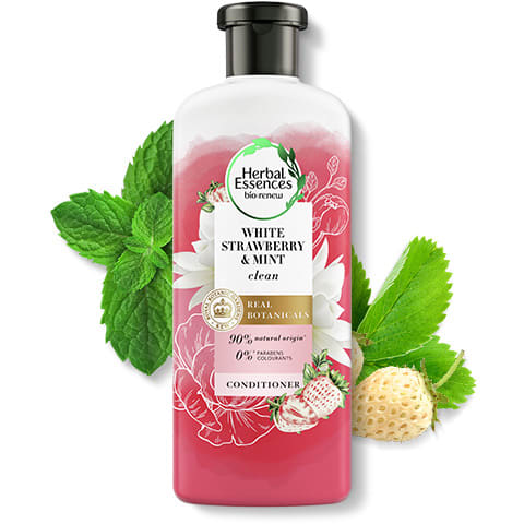 Herbal Essences White Strawberry & Mint clean conditioner bottle