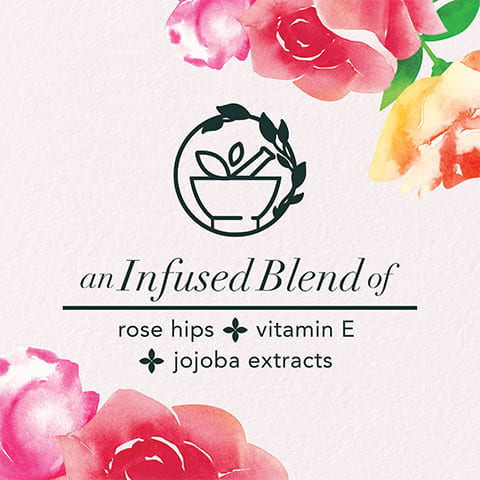 An Infused Blend of rose hips + vitamin E + jojoba extracts