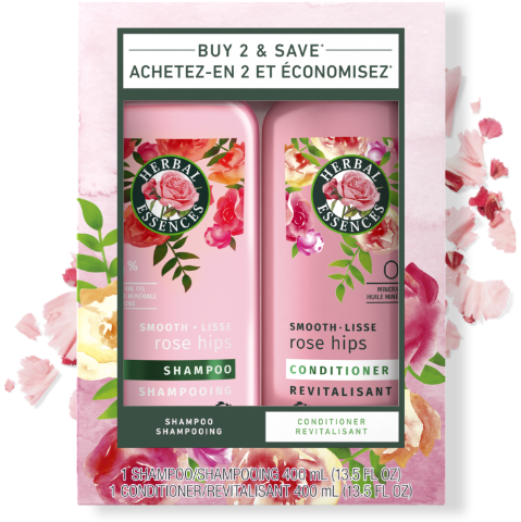 Herbal Essences Smooth Rose Hips Shampoo & Conditioner Bottles
