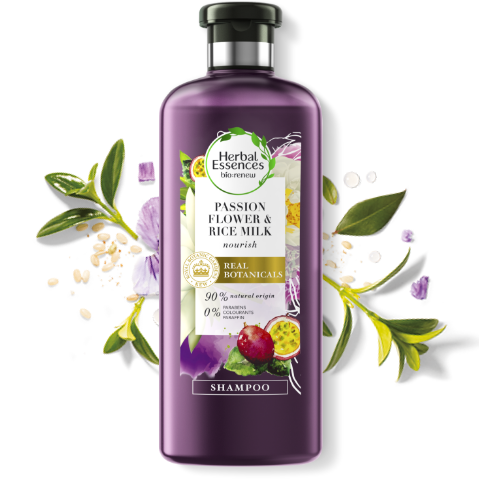 Herbal Essences Passion Flower & Rice Milk shampoo bottle