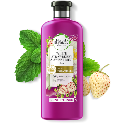 Herbal Essences White Strawberry & Sweet Mint shine conditioner bottle