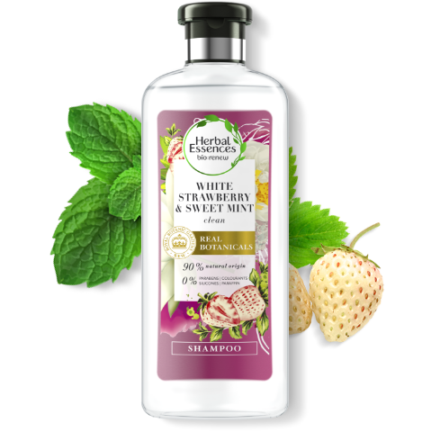 Herbal Essences White Strawberry & Sweet Mint shine shampoo bottle