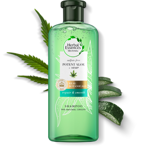 Herbal Essences Sulphate-free Pure Aloe & Hemp shampoo bottle