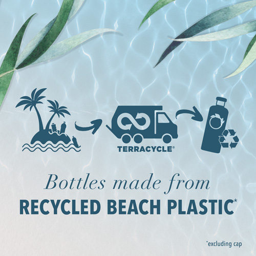 Bottles made from recycled beach plastic