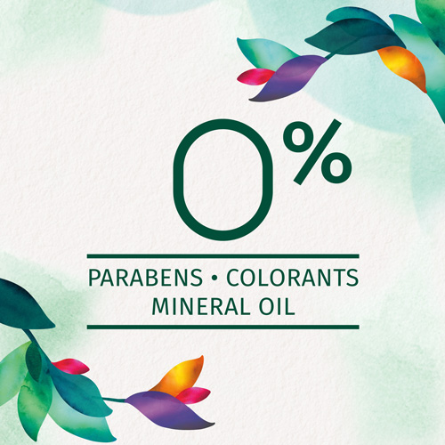 0% Parabens, colorans, mineral oil
