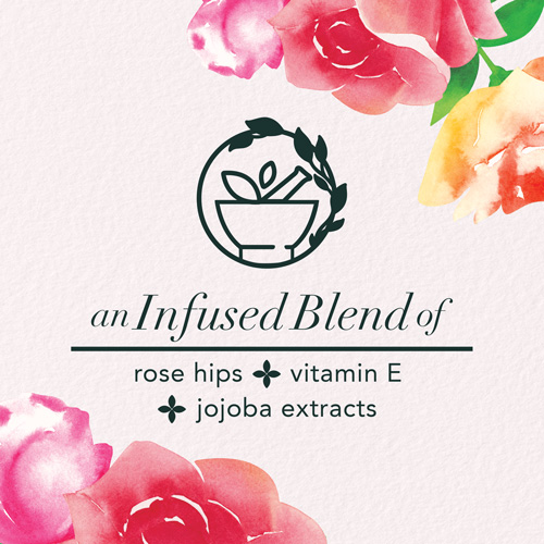 An infused blend of rose hips, vitamin E and jojoba extracts