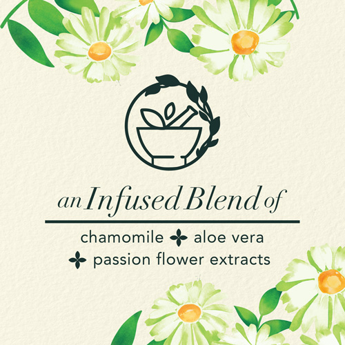 an infused blend of chamomile, aloe vera and passion flower extracts