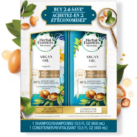 Herbal Essences Argan Oil of Morocco Shampoo and Conditioner Bottles