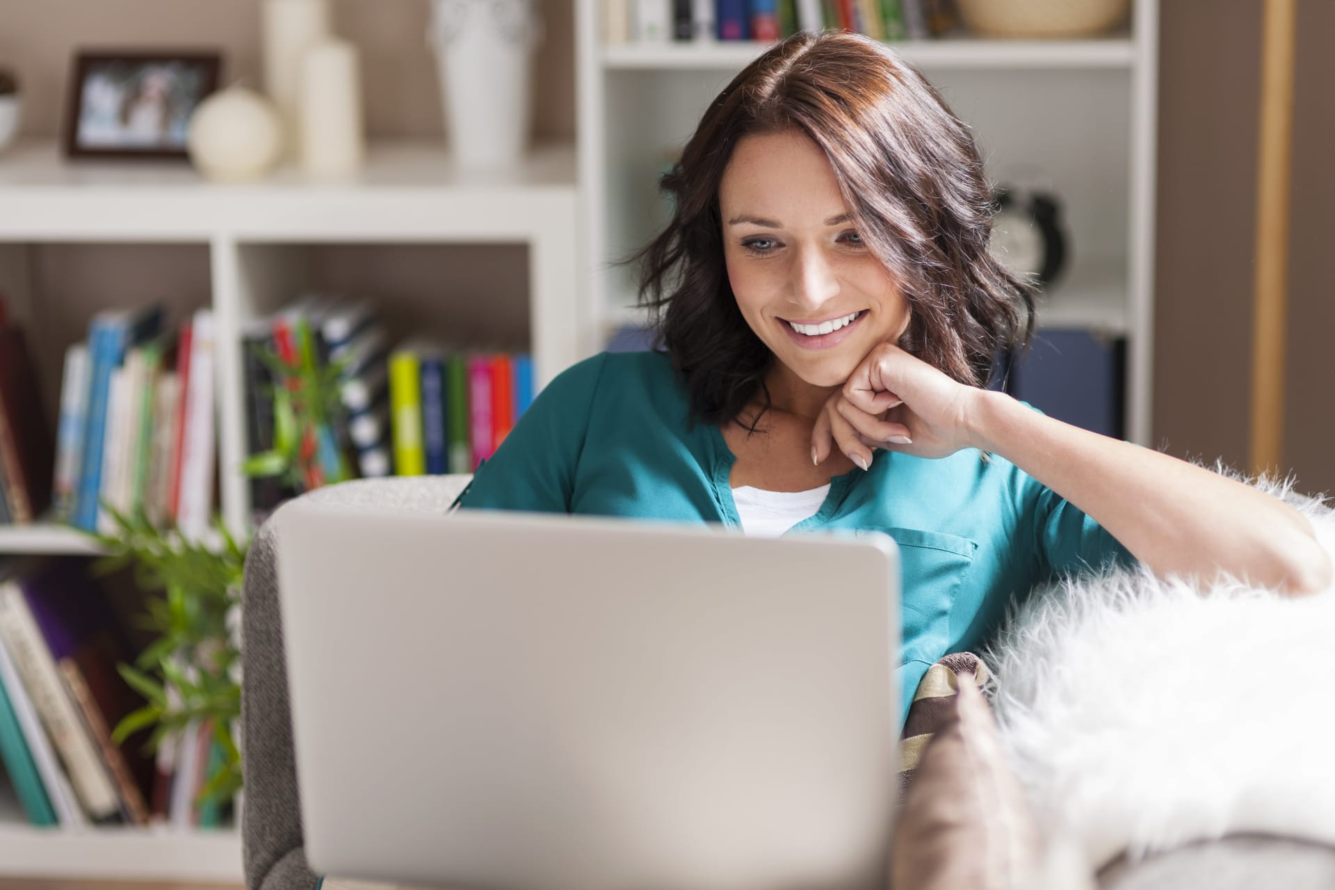 Woman looking on a laptop screen