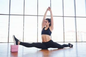 Girl in a front split position