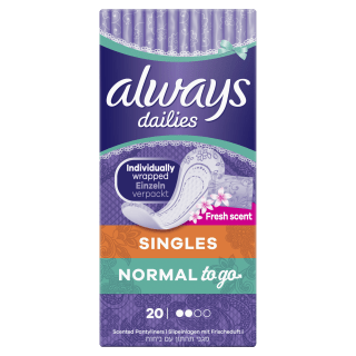Always Dailies Singles Normal To Go Fresh Pantyliners
