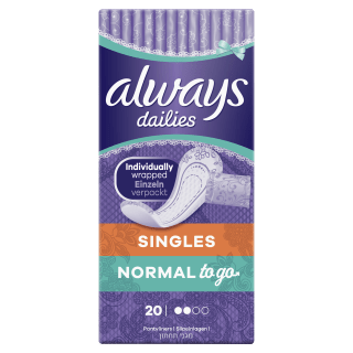 Always Dailies Singles Normal To Go Normal Pantyliners