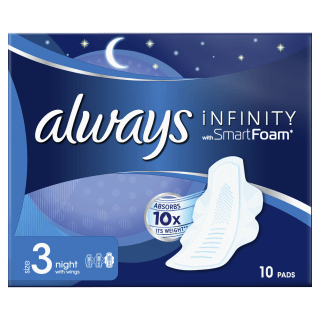 Always Infinity Night (Size 3) Sanitary Pads With Wings