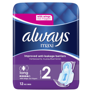 Always Maxi Long (Size 2) Sanitary Pads With Wings