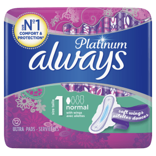 Always Platinum Normal (Size 1) Sanitary Pads With Wings