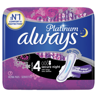 Always Platinum Secure Night (Size 4) Sanitary Pads With Wings