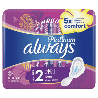 Always Platinum Long (Size 2) Sanitary Pads With Wings