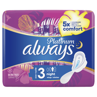 Always Platinum Night (Size 3) Sanitary Pads With Wings