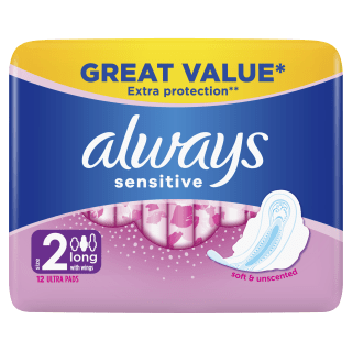 Always Sensitive Long Ultra (Size 2) Sanitary Pads With Wings