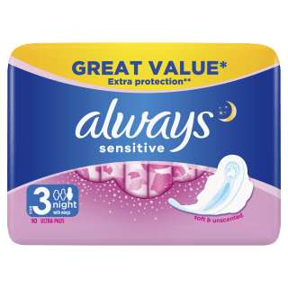 Always Sensitive Night Ultra (Size 3) Sanitary Pads With Wings