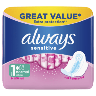 Always Sensitive Normal Ultra (Size 1) Sanitary Pads With Wings