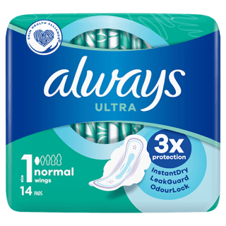 Always Ultra Normal (Size 1) Sanitary Pads With Wings