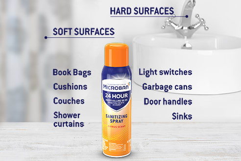 Sanitizes both hard & soft surfaces