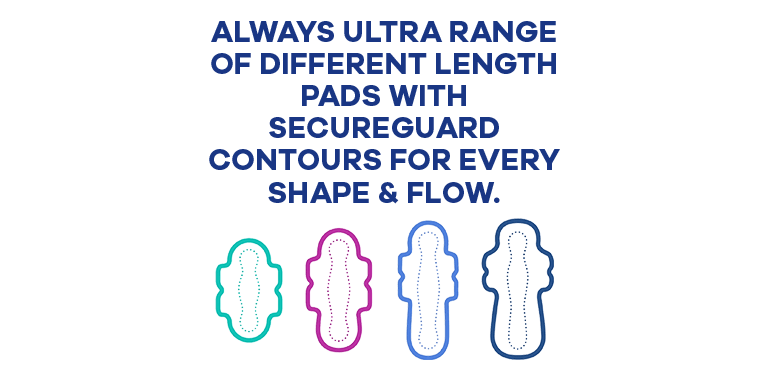 ALWAYS ULTRA RANGE OF DIFFERENT LENGTH PADS WITH SECUREGUARD CONTOURS FOR EVERY SHAPE & FLOW.
