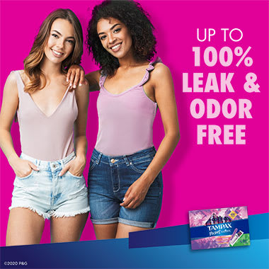 Tampax Pocket Radiant Super 100% Leak and odor free