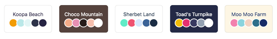 a row of buttons, showing the theme name and color swatches