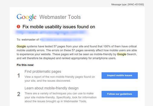 Site responsivo o que é e qual a sua importância - Email do Google alertando para problemas de usabilidade