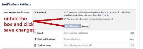 Turn off Facebook beep