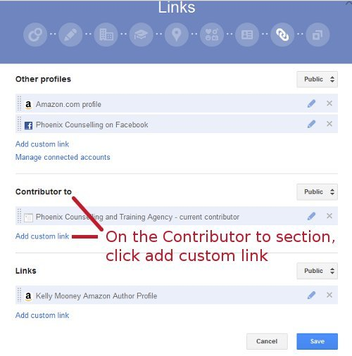Add a custom link to Google+ Profile