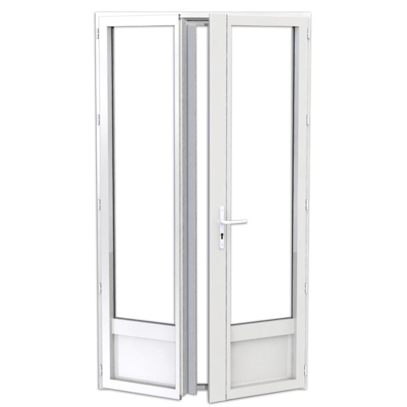 porte-fenêtre en aluminium 2 vantaux avec soubassement