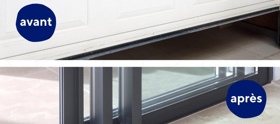 remplacement d'une porte de garage par une baie vitrée