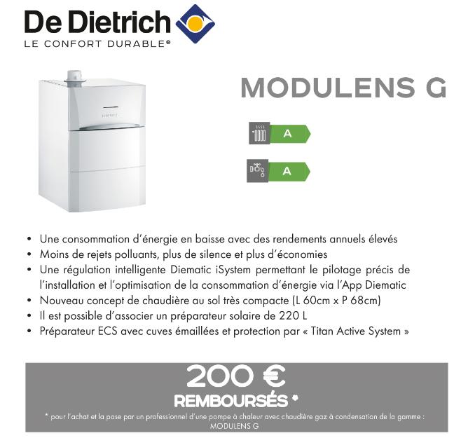 Offre quinzaine du gaz chaudière modulens G De Dietrich