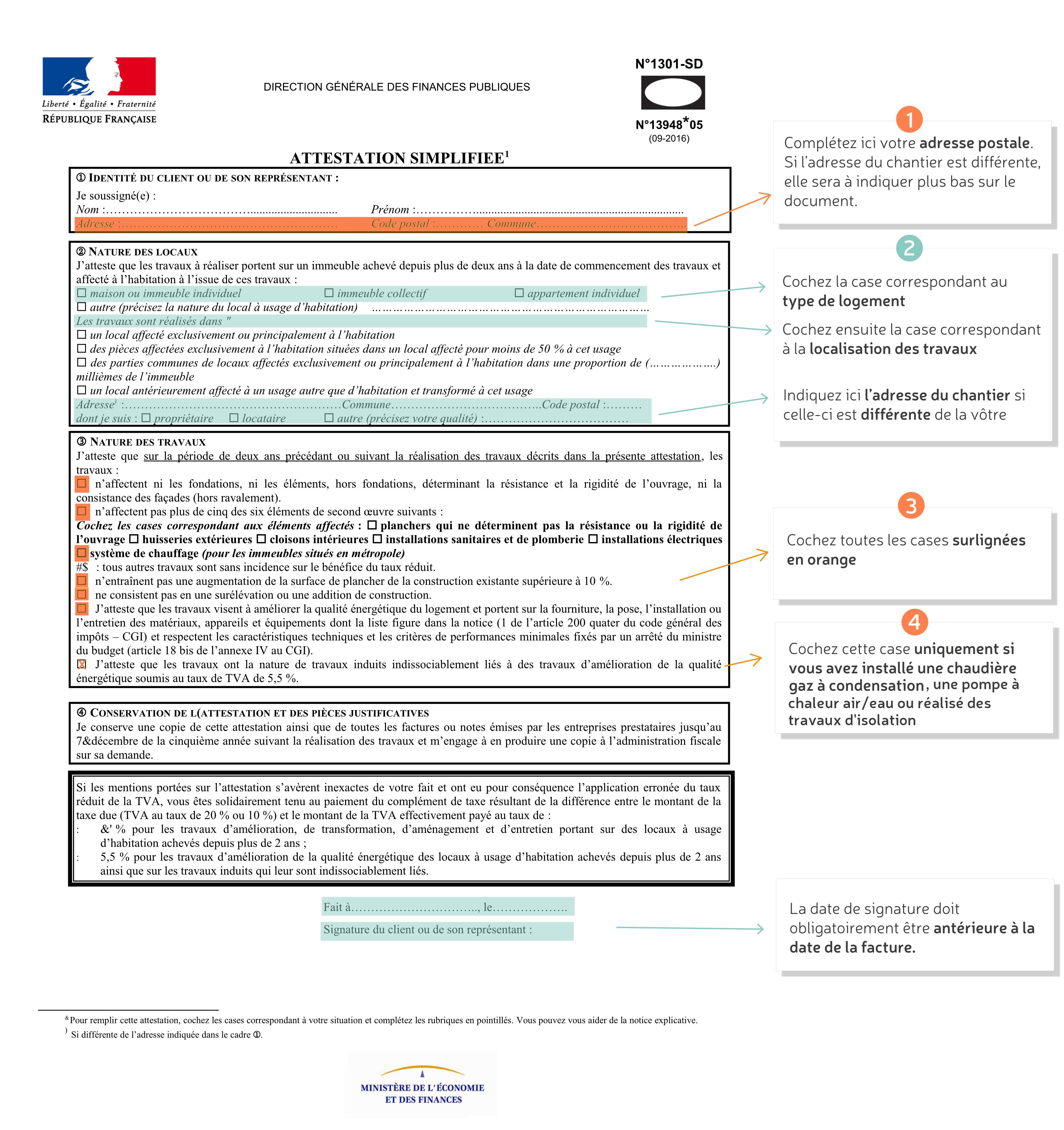 TVA SIMPLIFIÉE LATTESTATION 13948 CERFA TÉLÉCHARGER FORMULAIRE