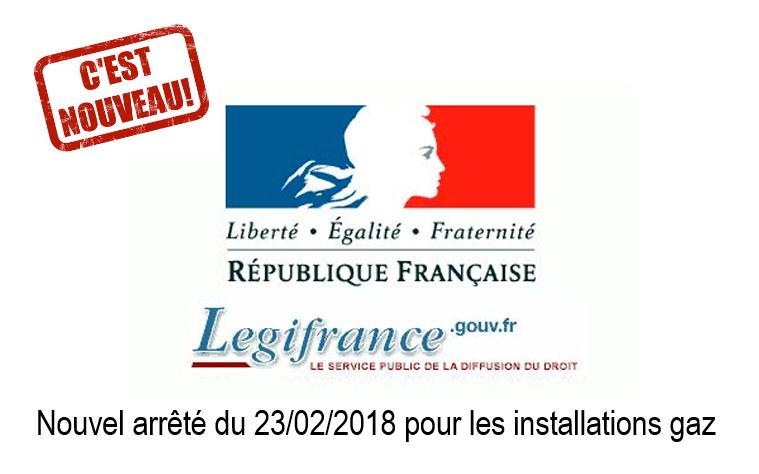 Nouvel arrêté installation gaz du 23/02/2018